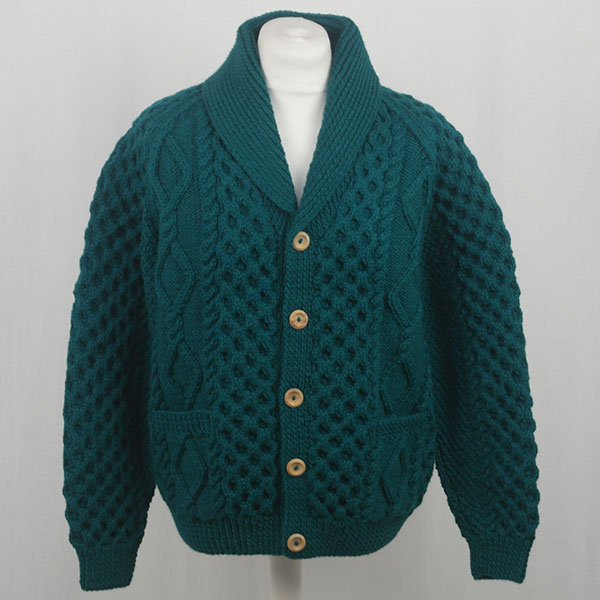 6A Shawl Collar Cardigan 580a Teal Front
