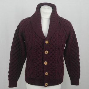 6A Shawl Collar Cardigan 589a Claret Front