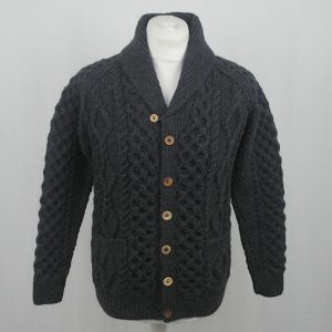 6H Shawl Collar Cardigan 584a Soot Front
